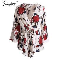 Simplee Apparel Boho Red Floral Print Elegant Jumpsuit Romper Summer Style Sexy V Neck Women Playsuit