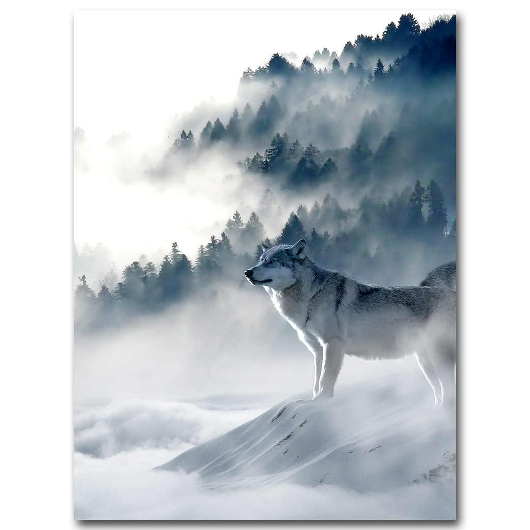 Nordic Kunst Wolf Schnee Berge Kunst Leinwand Poster Minimalistischen Druck Natur Bild Modern Home Dekoration