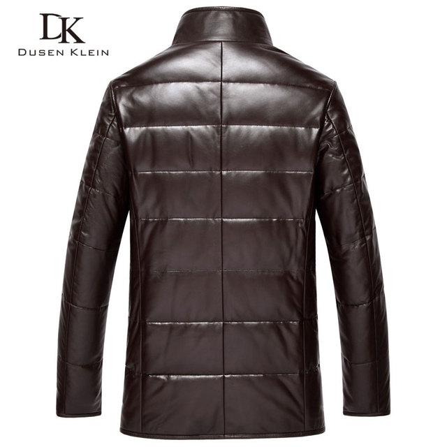 Dusen Klein leather Down Coat men Luxury Genuine Leather High quality mens sheepskin Winter jacket Black/Brown DK075