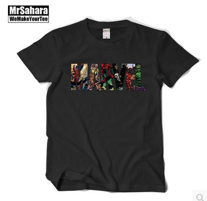 2016 The new surprise comic Super hero The hulk Die shi The punisher With short sleeves T-shirt male