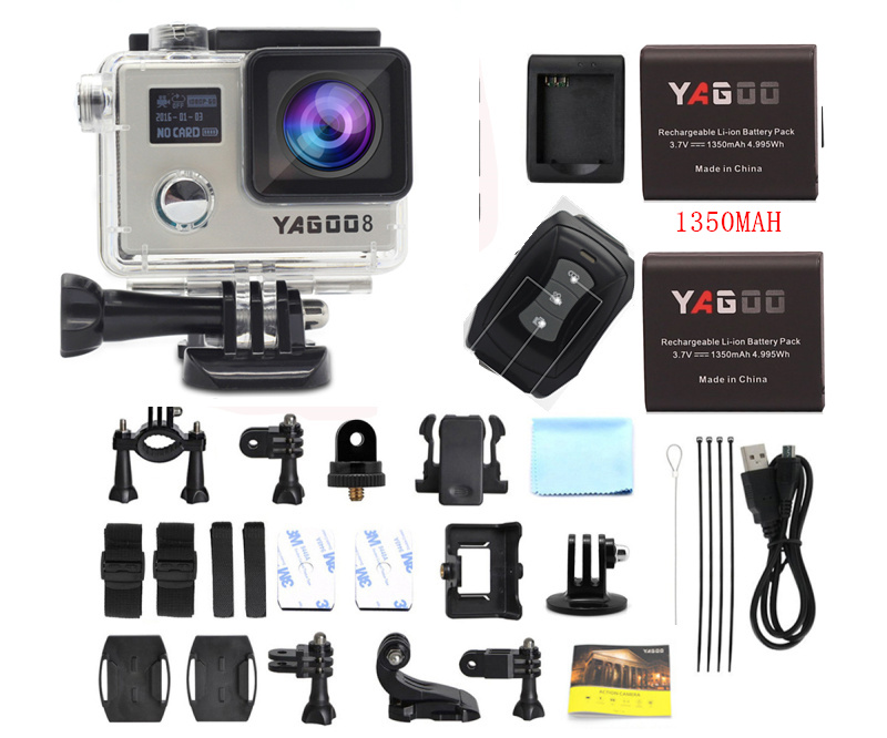 Yagoo8 Dual screen 2.0LCD  4K Action Camera WiFi Full HD 1080P 24fps Mini Helmet  go cam pro sports Camcorder remote dual screen lcd ultra hd wifi sports action waterproof camera 4k 25fps 12mp