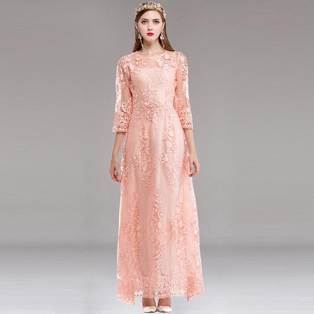 Amazing Mesh Embroidery long dress