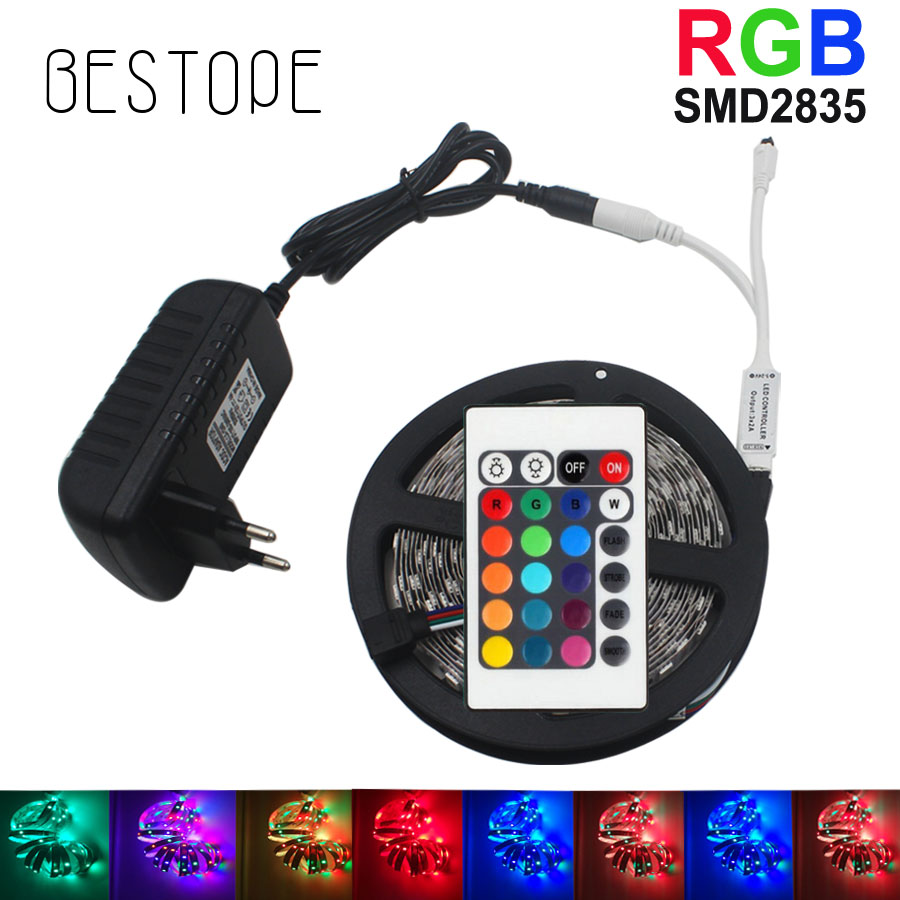 BESTOPE RGB LED Strip 2835 SMD RGB Light Tape 5M LED Tape lamp flexible Waterproof diode+IR Controlle+DC12V Adapter set