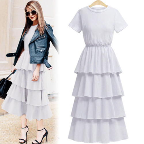 Women Cascading Modest Dress Elegant Evening Celebrity Party Plus ...