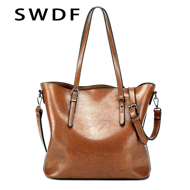 Detail Feedback Questions about SWDF New Genuine Leather Woman s Bucket Bag  Belt Decoration Simple And Versatile High Capacity Shoulder Messenger Bag  on ... 8db8c8c763e5f