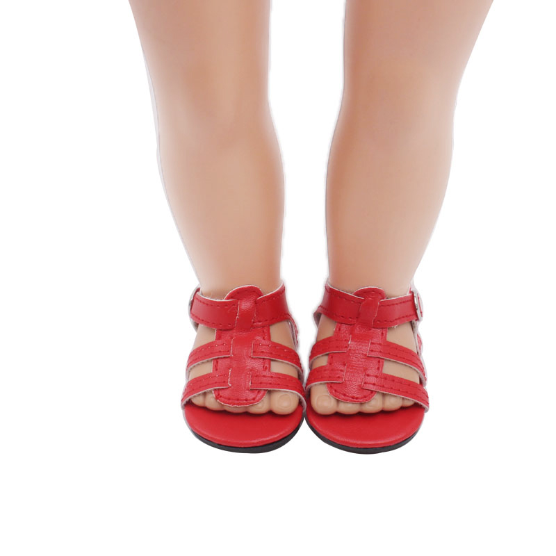 18 inch Girls doll shoes Delicate white red sandals dress shoe American new born accessories Baby toys fit 43 cm baby s119 in Dolls Accessories from Toys Hobbies