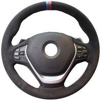 KUNBABY Black Suede Hand stitched Car Steering Wheel Cover for BMW 316i 320i 328i 320d F20 F45 F30 F31 F34 F32 F33 F36