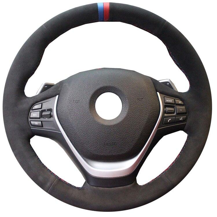 KUNBABY Daim Noir cousu À La Main Couverture De Volant de Voiture pour BMW 316i 320i 328i 320d F20 F45 F30 F31 F34 F32 F33 F36