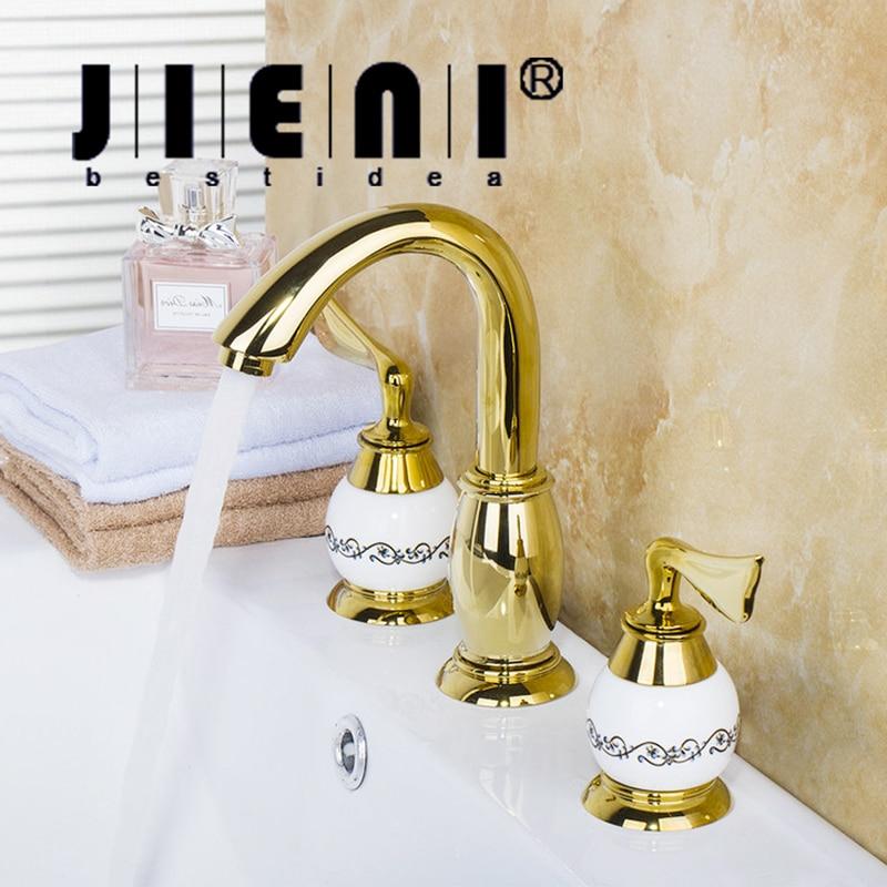 JIENI Luxury Golden Plated Bathroom Faucet set Deck Mounted 3PCS Set Bathtub European Split Basin Mixer Tap ceramic Faucet Body диски helo he844 chrome plated r20