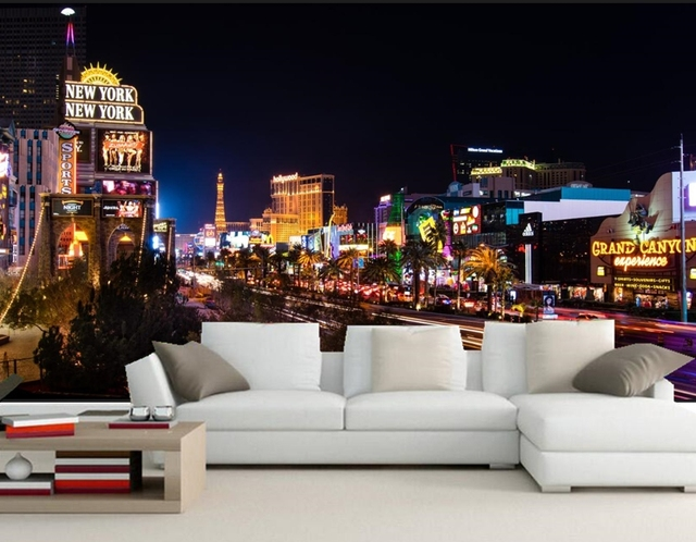 Houses Roads Las Vegas Night City Wallpaper Papel De Parede Restaurant Bar Living Room Sofa