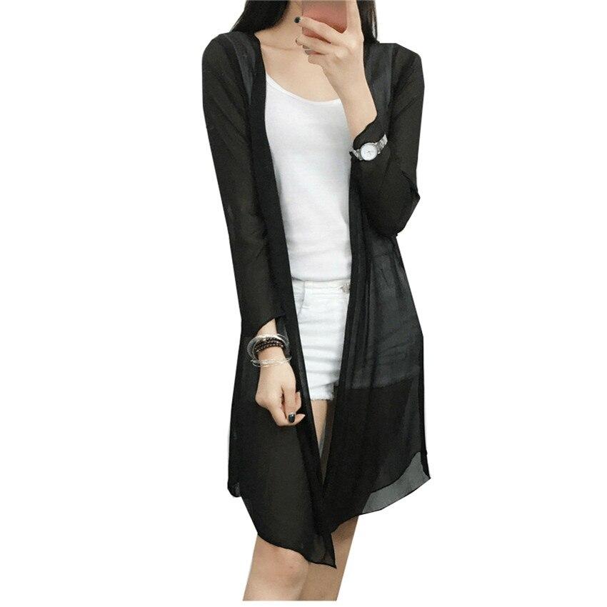 2018 Summer New Cardigan Loose Women Long Blouses Tops Plus Size Chiffon Beach Shirts Sunscreen Clothing Clothes Blusas WZ199