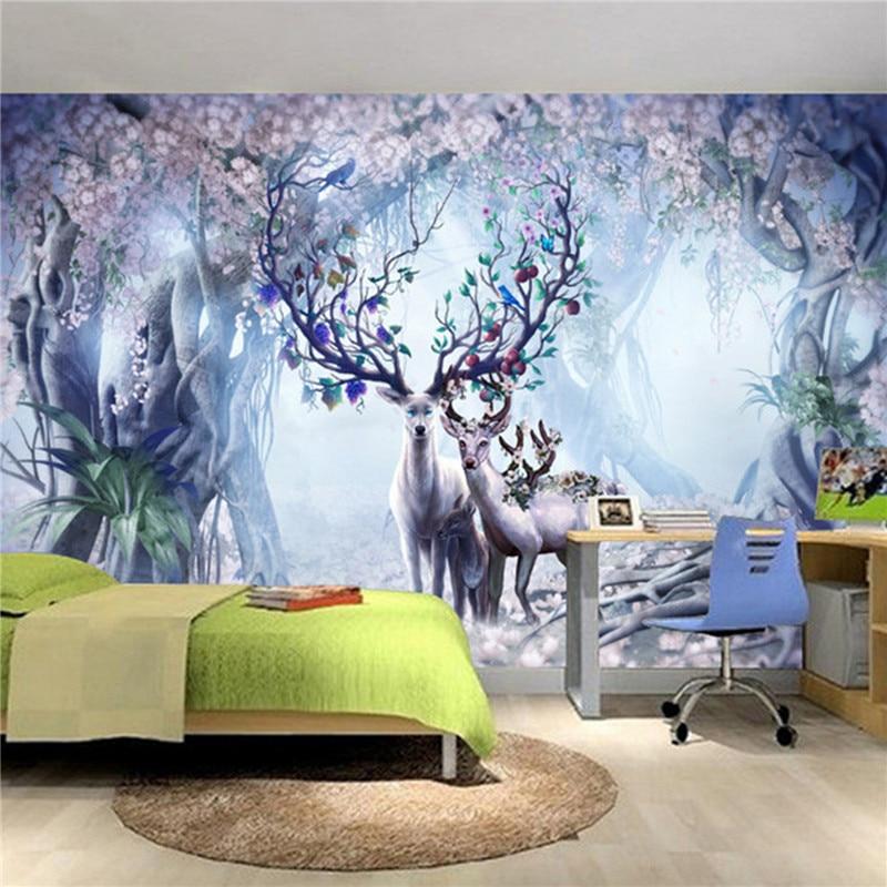 Europäische tv wand hintergrundbild mural skandinavischen 3d elch ...