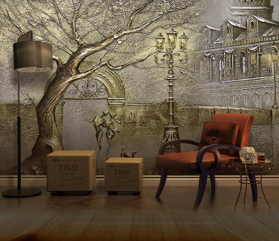 Anpassen Geprägten goldenen baum 3d tapeten für wohnzimmer ...