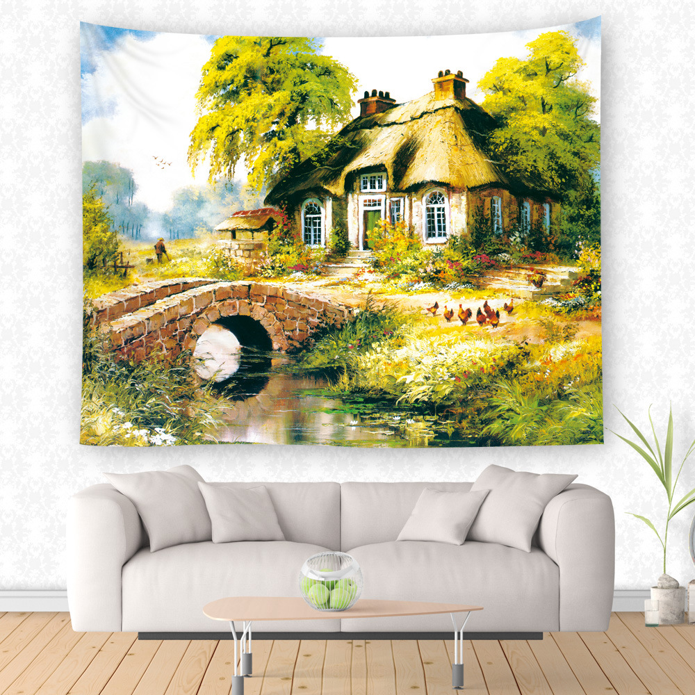 Beautiful Fairy Tale Village Print Wall Hanging Tapestry Throw Mat ...