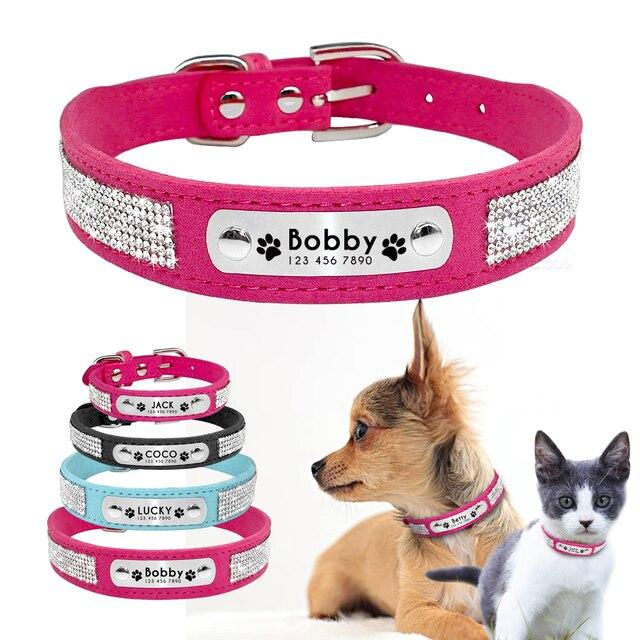 Collare di Cane di Bling di Cuoio Del Cucciolo Del Cane Collare Personalizzato s