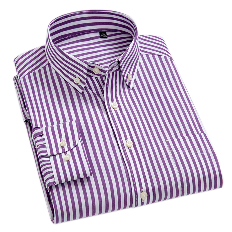 f8c64743c46 100% Cotton High-Grade Brand Men s Clothing Men Oxford Striped Social Shirts  Leisure Style Men s Formal Business Shirts ~ Perfect Sale May 2019