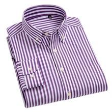 Хлопок, Высококачественная брендовая мужская одежда, мужские полосатые рубашки в Оксфордском стиле, мужские классические деловые рубашки для отдыха