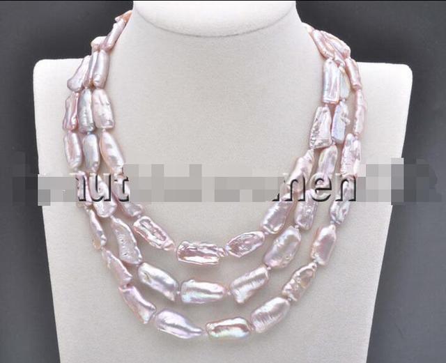 Hot  free shipping******** 18mm Lavender BAROQUE DENS Biwa REBORN KESHI PEARL Necklace 48inch