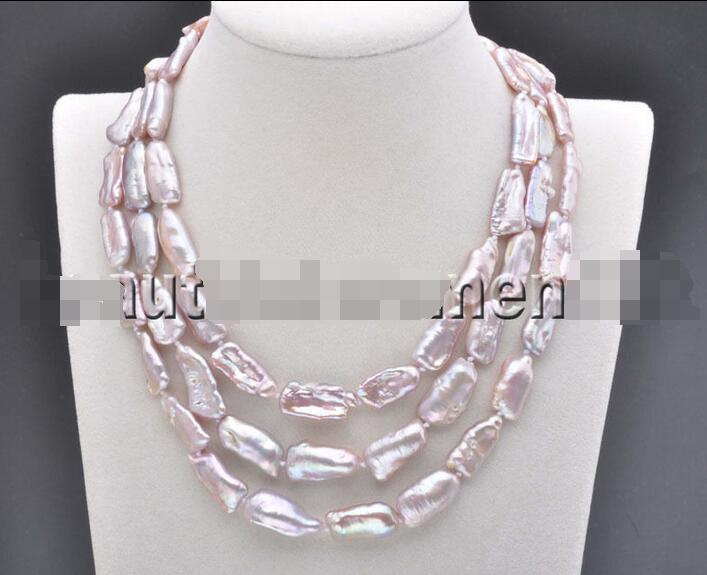 free shipping******** 18mm Lavender BAROQUE DENS Biwa REBORN KESHI PEARL Necklace 48inch ...