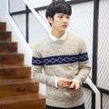 Man Pullover 2016 Hot Sale New Full Autumn Good Quality Knit Cotton Male Knitwear O-neck Long Sleeve Stripe Men Sweater