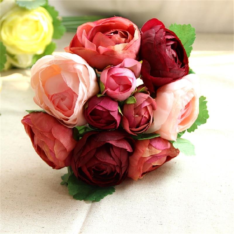 10 koka me trëndafila artificiale Buqeta e dasmave Lule dekorative e - Furnizimet e partisë - Foto 5