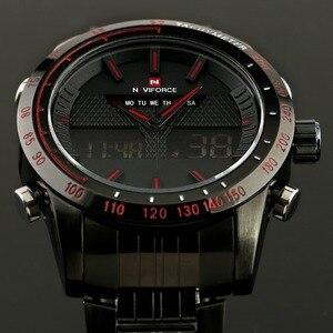 Image 3 - ساعات يد للرجال من NAVIFORCE ساعة كوارتز من الفولاذ بالكامل ساعة تناظرية LED رقمية ساعة يد رياضية عسكرية ساعة رجالية