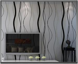 Image 3 - Black grey Striped Wallpapers Modern Bedroom Curved Stripes Wall Paper Roll For Living Room TV Background