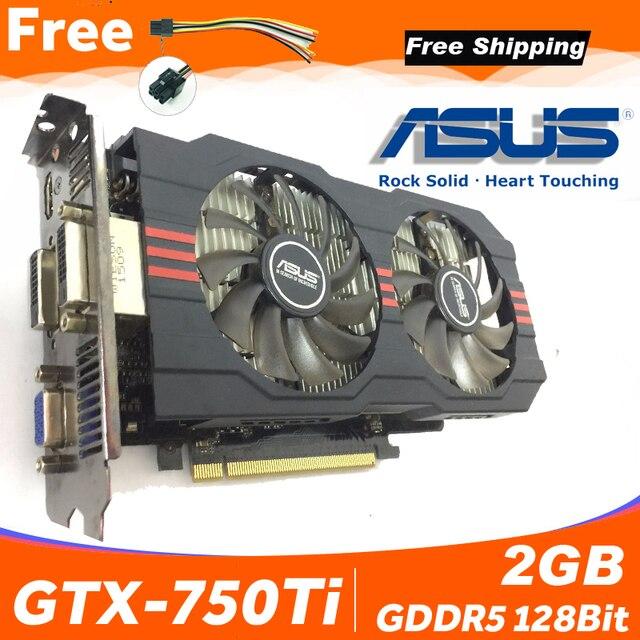 Asus GTX 750TI OC 2GB GTX750TI GTX 750TI 2G D5 DDR5 128 Bit PC Desktop Graphics Cards PCI Express 3.0 computer Video card 750ti