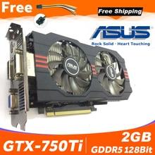 Asus GTX 750TI OC 2GB GTX750TI GTX 750TI 2G D5 DDR5 128 Bit bilgisayar masaüstü Grafik Kartları PCI Express 3.0 bilgisayar Video kartı 750ti