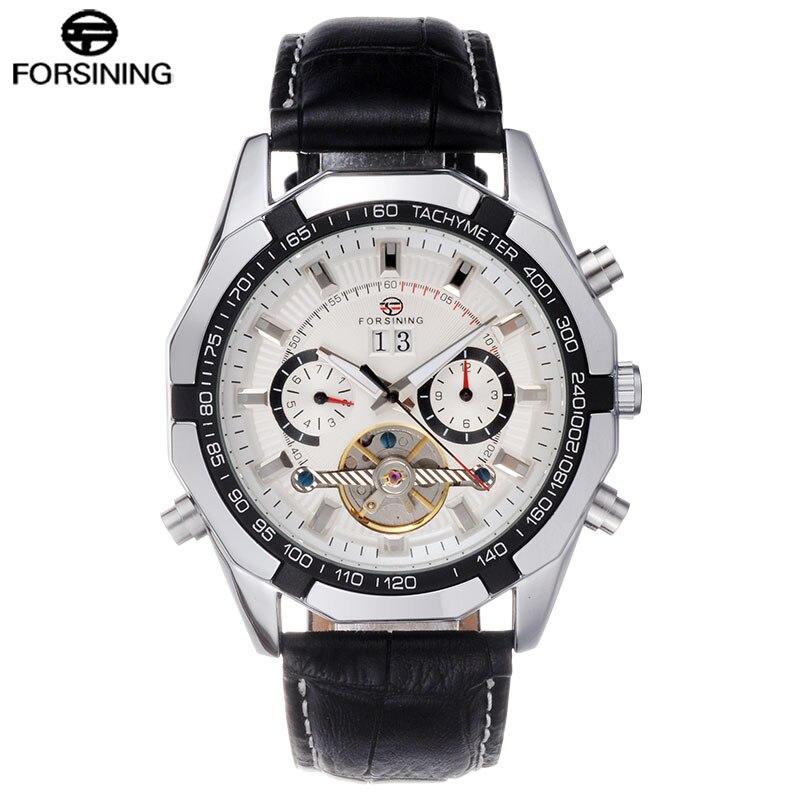 ФОТО Men's dress mechanical watches men luxury bussiness tourbillon automatic wristwatches black leather strap auto calendar clock