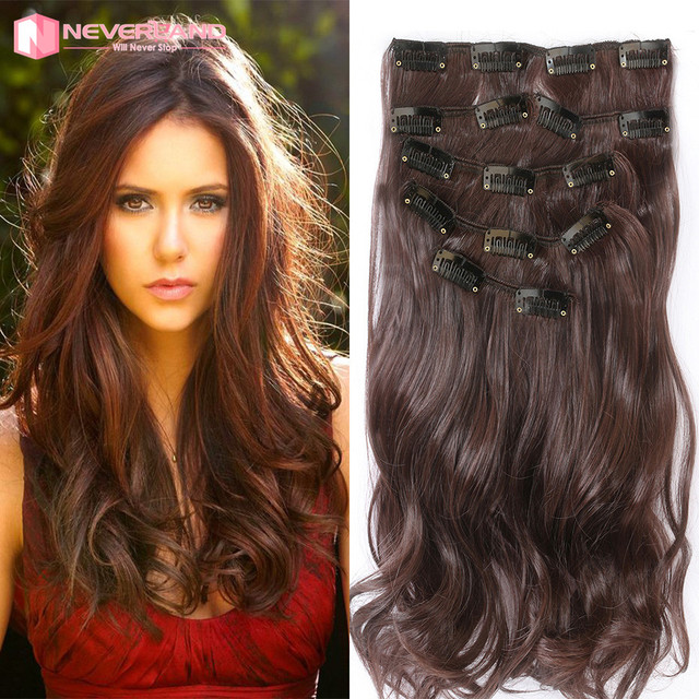 22 55cm Curly Medium Brown Hair Extensions 16 Clips Long Hairpiece