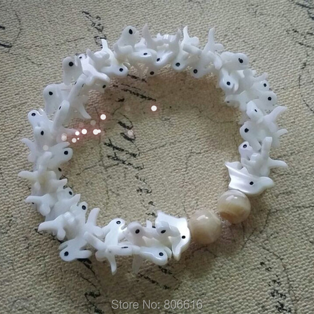 """Little rabbit & Dolphin"" Handmade 100% Pure Natural Seashell Jóia Animal Pulseiras"