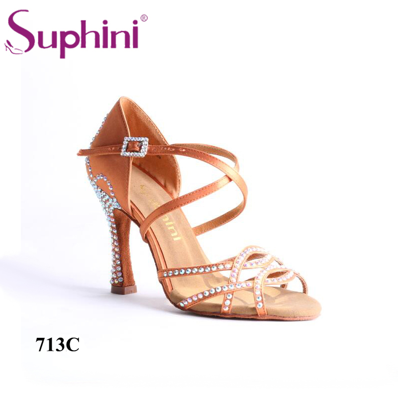 Free Fast Shipping Woman Latin Salsa Shoes Crystal Tan Latin Dance Shoes Professional Salsa Shoes