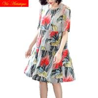 floral silk summer dress robe femme ete 2018 maxi plus size women dresses beach long sexy boho party bohemian casual red flower