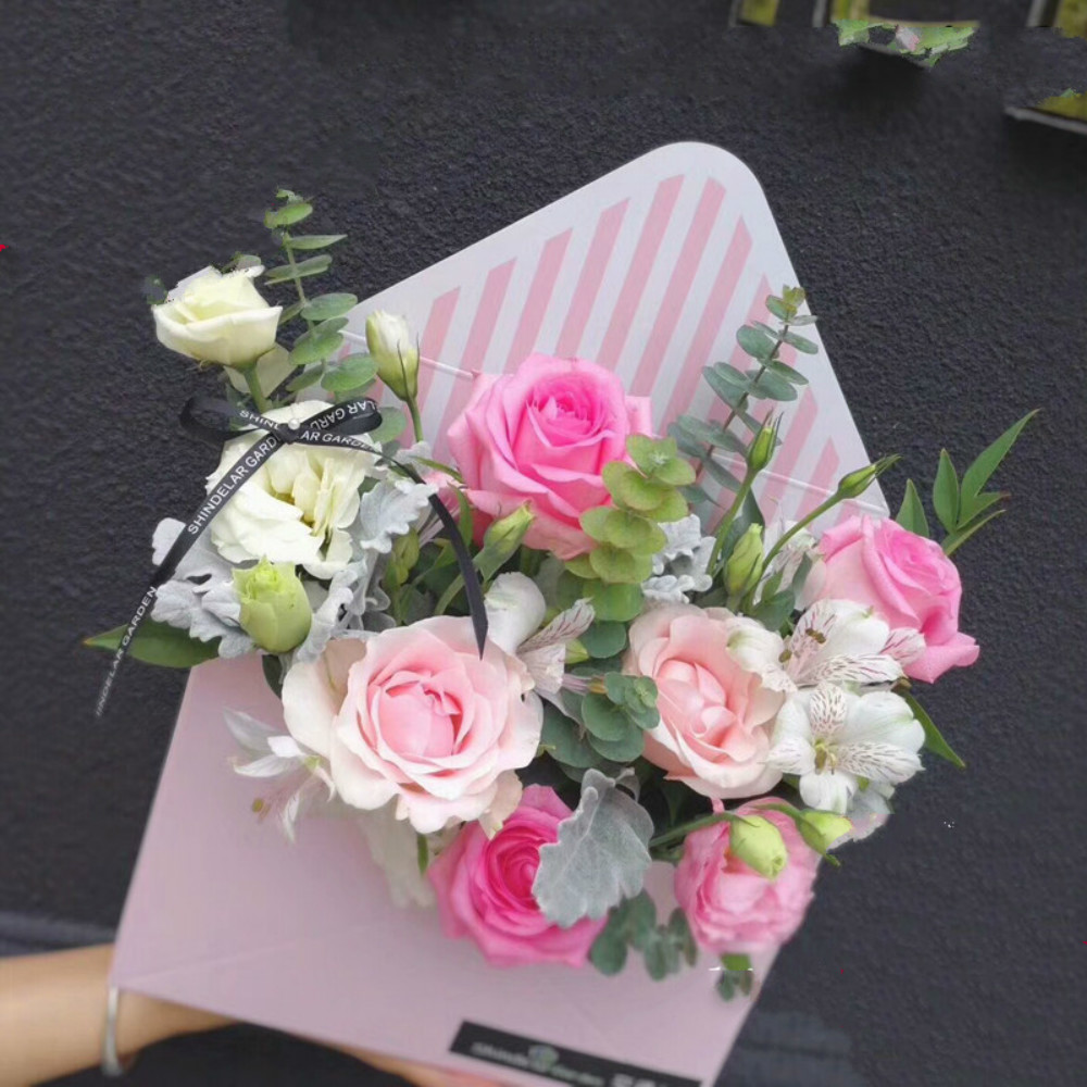 Lovely Hand Hold Envelope Boxes Flower Pot Bouquet Packaging Box Florist Material Valentines Day Festival Rose Boxes 5pcs/lot
