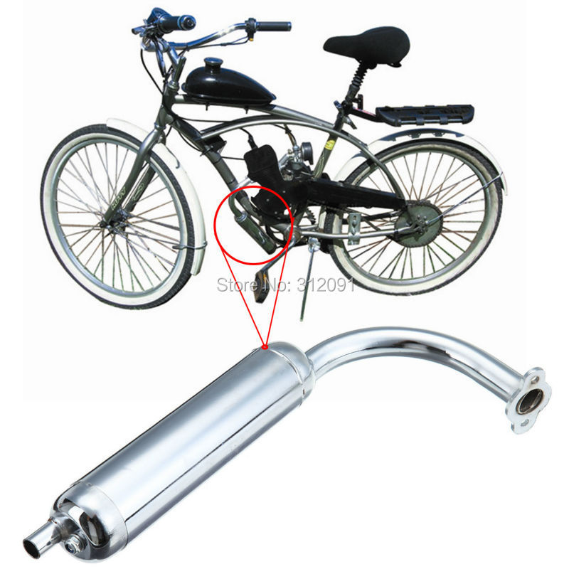 D CHROME MUFFLER FOR YOUR MOTORIZED BICYCLE  OR 49//80CC BICYCLE ENGINE KIT