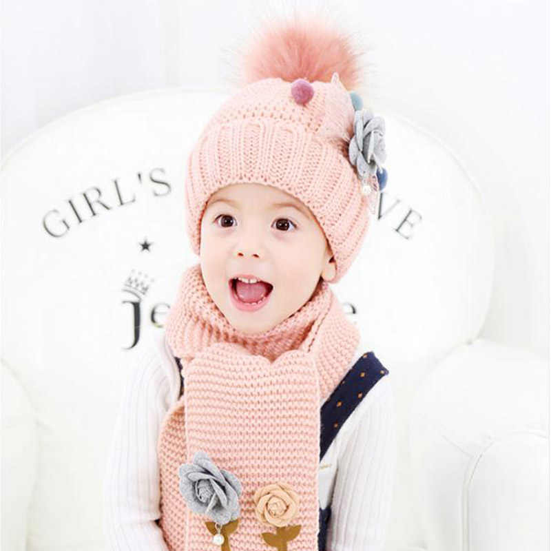 Doitbest ดอกไม้ 3-8 ปี hailball beanies ชุดขนสัตว์กำมะหยี่เด็กถักหมวกขนสัตว์ฤดูหนาว 2 pcs เด็กสาวผ้าพันคอหมวกชุด