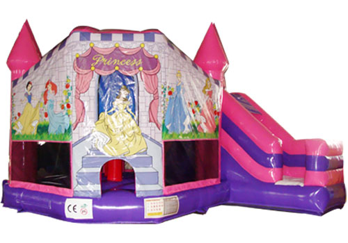 snow-white bouncy castle and slides pink violet colourful toys medicine science type blood test slides and marrow slides