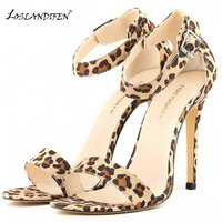LOSLANDIFEN Summer Ankle Strap Open Toe Sandals Snakeskin Leather Leopard Print Sandals Wedding Bridal Bridesmaid Shoes
