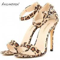 LOSLANDIFEN Summer Ankle Strap Open Toe Sandals Snakeskin Leather Leopard Print Sandals Wedding Bridal Bridesmaid Shoes