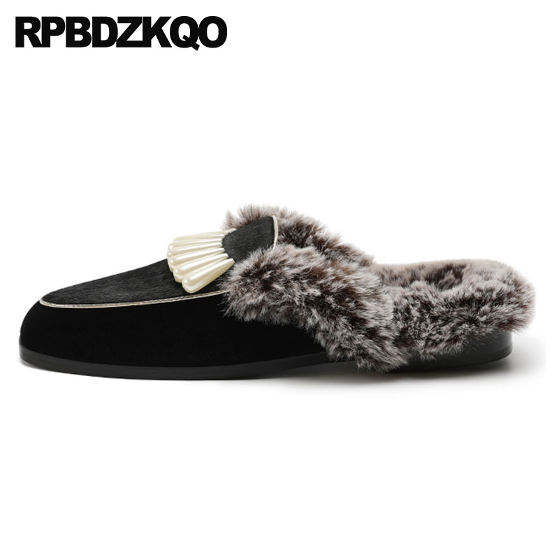 3201ba0bd Fluffy Autumn Pearl Winter Velvet High Quality Real Fur Luxury Mules  Sandals Black Shoes Slides Furry Fuzzy Women Slippers Plush-in Slippers  from Shoes on ...