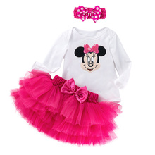 Set For Cute Baby Girl Clothes Long Sleeve T-Shirt+Rose Red Tutu Skirts  Multicolor Tulles Bow Pettiskirt 2016 YK&Loving