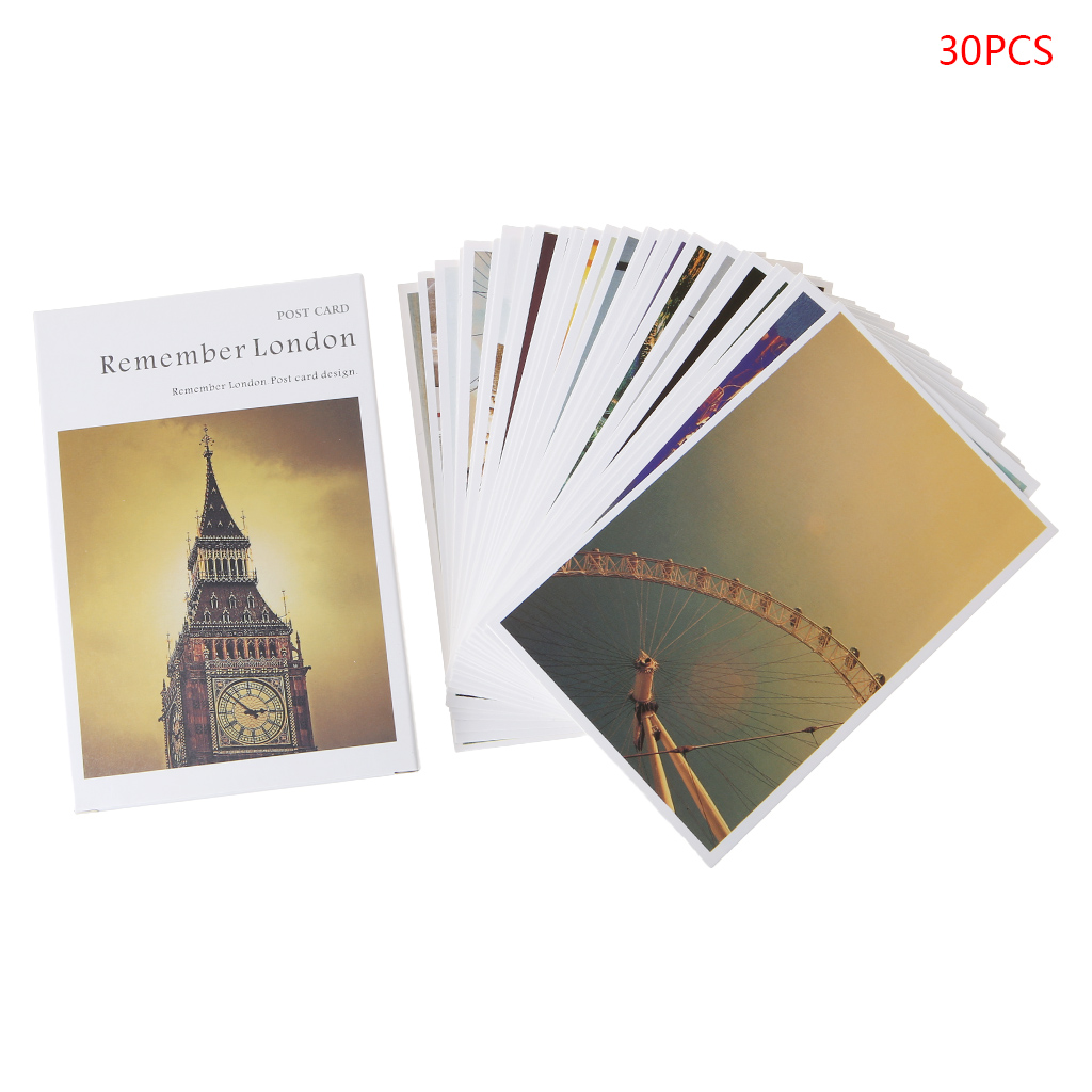 30 Sheets London Paintings Retro Vintage Postcard Christmas Gift Card Wish Poster Cards