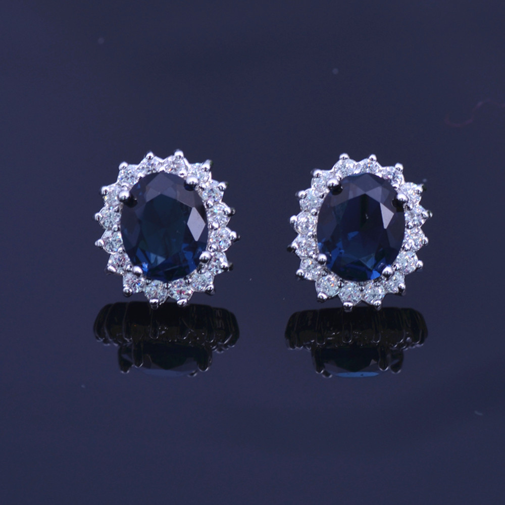 2018 White Gold Color Blue Cubic Zirconia Earring With Crystals Round Elegant Wedding Micr Stud Earringe E00684 ...