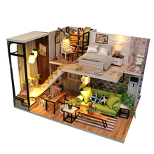 Doll House Miniature Furnitures Wooden DIY Casa Dollhouse 1:12 Miniaturas Toys for Kids Birthday Room Decoration Gift