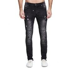 Мужские джинсы черные байкерские джинсы модный дизайн мотоциклетные Стрейчевые джинсы для мужчин H0112