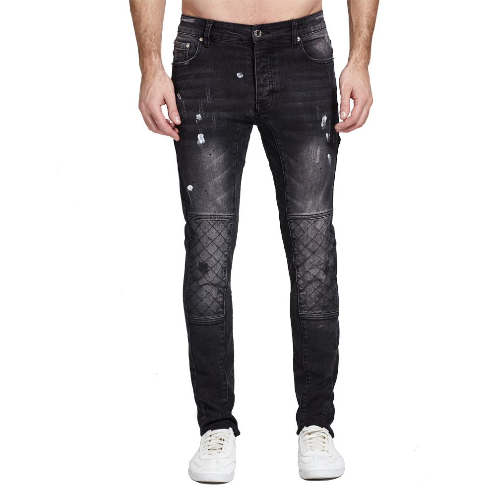 Men   Jeans   Black Biker   Jeans   Fashion Design Motocycle Strech   Jeans   For Men H0112