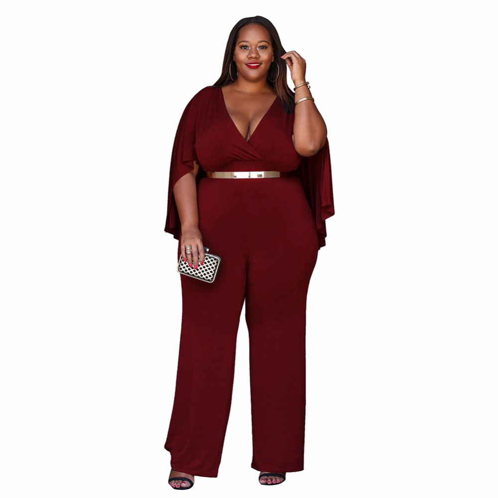 Plus Size Cape Poncho Belt Jumpsuit Rompers Women Slim V Neck Royal
