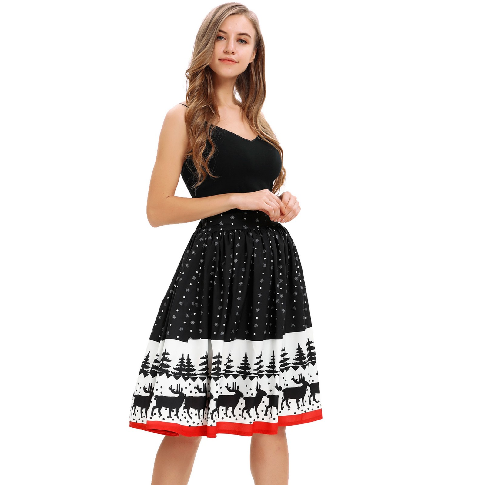 Jaycosin skirt women's ladies Christmas print knee-length skirt stretch high waist wild Christmas party sexy skirt
