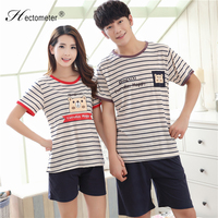 2019 High Quality Knitted Cotton Pajamas for Woman Mens Summer Short Sleepwear Suit Striped Printing 1115